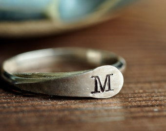 Adjustable Ring with Custom Initial - thumb ring - finger cuff - toe ring - sterling silver or 14k gold filled