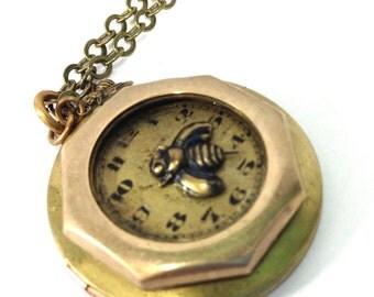 Bee  Locket ,Brass Steampunk Necklace,  Steampunk Shadowbox, Steampunk Jewelry, Victorian, Bee, One of a Kind