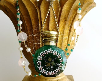 Shamrock Chatelaine Scent Bottle Green Onyx Rose Quartz Necklace - Caitlin Necklace