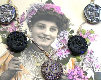Lacy Antique BUTTON Necklace, Victorian glass flowers on sterling chain, one of a kind jewellery.