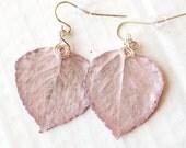 Pink Aspen Leaf Earrings, Bridesmaid Jewelry, Nature Earrings