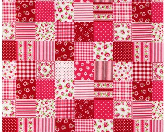 HALF YARD - Cosmo Textiles, Japanese, Red and Pink Patchwork, Flowers, Stripes, Dots, Roses, Gingham