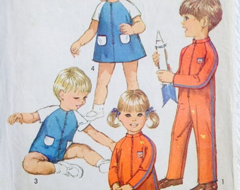 Vintage Toddler Jumpsuit and Dress Playsuit Size 2 Girls Boys Sewing Pattern