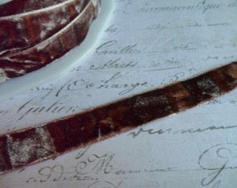 "Root Beer Brown Crushed Velvet Ribbon, Approx 5/8"" wide"