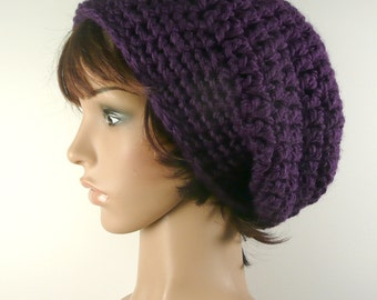 Chunky Slouchy Beanie in Deep Violet Soft and Cozy