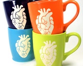 4 Anatomical Heart Mugs - Sky Blue, Navy Blue, Lime Green & Tangerine Orange coffee cups