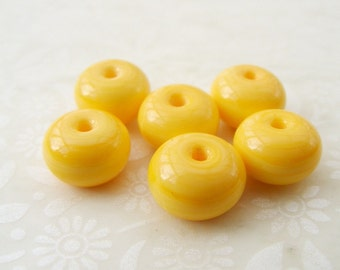 Lampwork Glass Spacer Beads Opaque Custard Yellow
