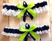 Handmade Lace Wedding Garter Set  Seattle Seahawks keepsake and toss NAGNG
