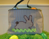 Navy Stripe Easter Tote