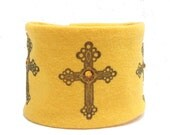 Wrist Cuff Wrist  Wallet  Eco-Friendly Cross with bling swarovski crystals