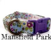"Blue Purple Flower Girl Dog Collar - Organic Cotton - Antique Brass Hardware - ""Mansfield Park"""