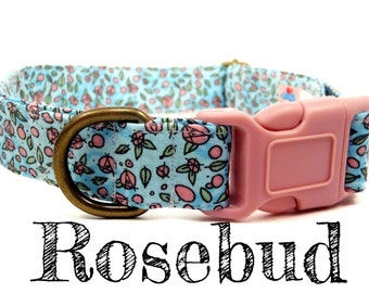 "Teal Blue Pink Rose Pretty Girl Dog Collar - Organic Cotton - Antique Brass Hardware - ""The Rosebud"""