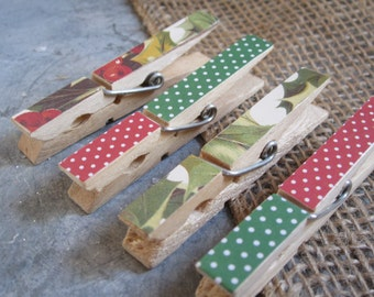 SALE Clothespins - Set of Four Holly and Polka Dots