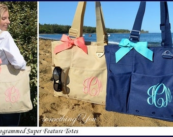 Monogrammed Tote - Personalized Book Bag, Bridesmaids gifts, Monogrammed Teachers Tote Bag, Monogrammed briefcase, Carry-on Bag, Diaper Bag