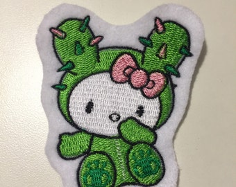 Cactus Kitty Patch (Choose your own color background)