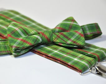 Boy's Bow Tie and Suspender Set - Christmas Green and Red Plaid - Toddler Tie and Suspenders - Children's Christmas Tie