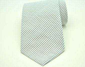 Boy's Necktie - Gray Seersucker Necktie - Seersucker Children's Tie