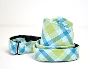 Lime and Blue Plaid Men's Bow Tie Self Tie Bowtie