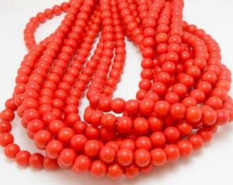 56 Orange Howlite Beads 8MM round (H7025)
