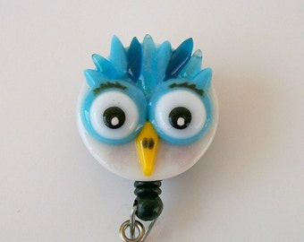 ID badge Fused Glass Owl Badge Holder (Blue)