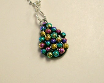 Fused Glass Dichroic Tear Drop Pendant/ necklace (Multi)