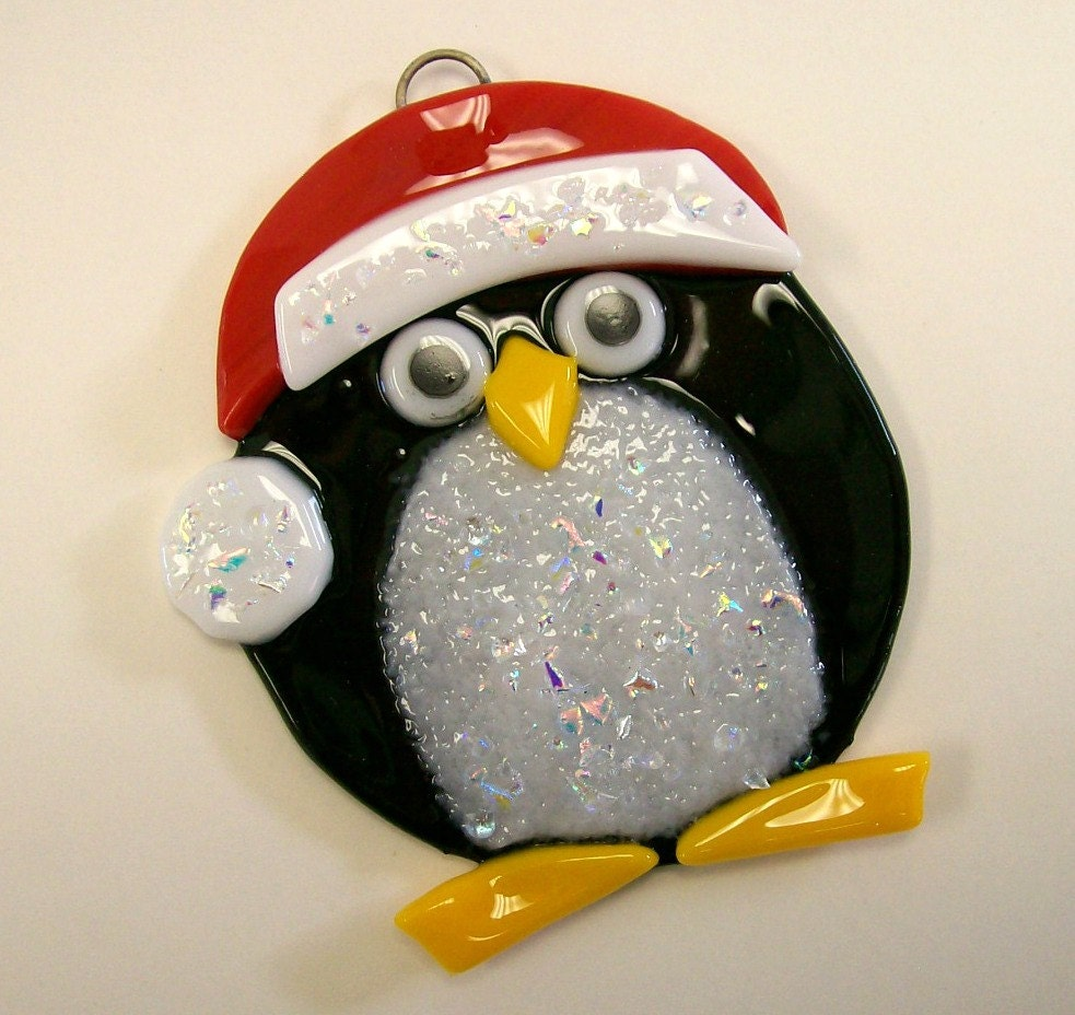 Fused glass christmas ornament penguin