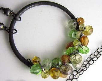 Harvest Ring Necklace - Sterling Silver, Citrine, Garnet and Peridot