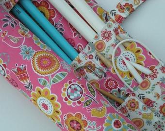 large knitting needle case - large knitting needle organizer - danish print flowers and birds - 36 pockets