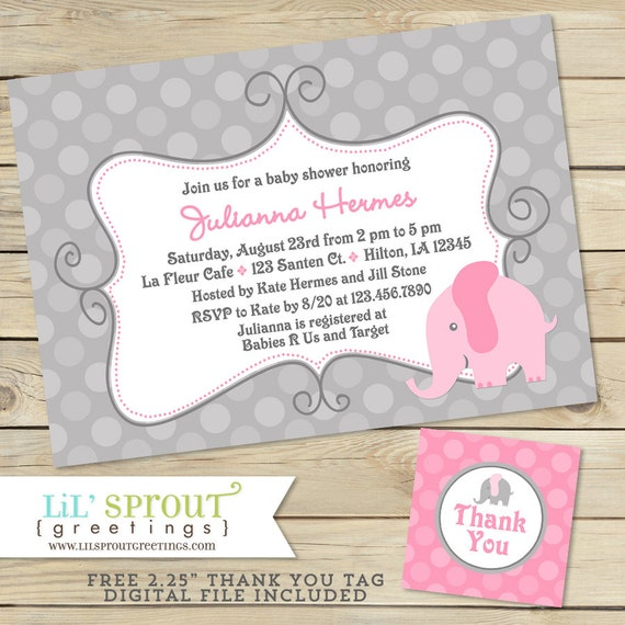 Pink elephant girl baby shower invitation free thank you tags il570xn filmwisefo