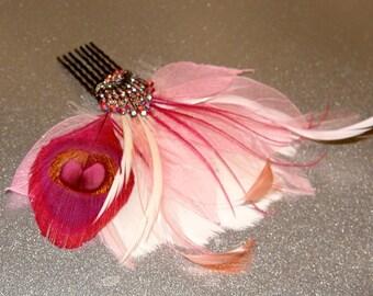 Hot Pink Blush Art Deco Vintage Feather Fascinator Comb Bridal Wedding Hair Piece