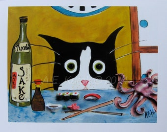 Cat Cards - Funny Blank Cards- Silent Mylo Tuxedo Cat with Sushi -  Cat  Art