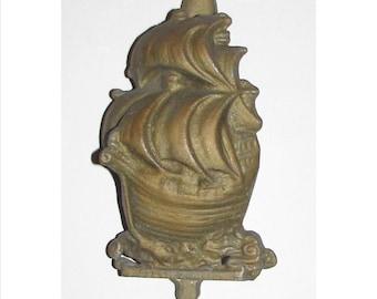 Vintage Cast Metal Door Knocker of Sailing Schooner Ship,  Nautical, Sea, Boat, collectible, home hardware