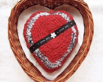 i Love You Gift for Her - Heart Warming Tapestry Plush Ornament - Declare Your Love - Valentine is Every Day - Red White Multicolor Eco Silk