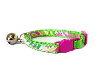 Lilly Pulitzer Millionaires Row Signature Fabric Handmade Safety Kitten or Cat Collar (Breakaway Buckle)