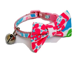 Kitten or Cat Collar with Removable Bow Made from Lilly Pulitzer NEON Lets Cha Cha Fabric (Breakaway Buckle)