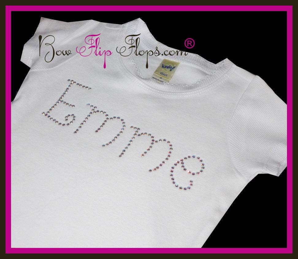 Rhinestone Name Shirt For Girls Bling Personalized Tee Shirt