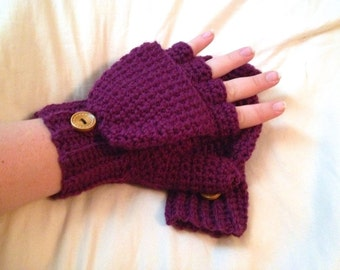 Warm Wool Crocheted Eggplant Purple Convertible Fingerless Mittens/Gloves