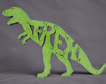 T-Rex Dinosaur Green   Wooden Puzzle Toy  Hand  Cut  with Scroll Saw