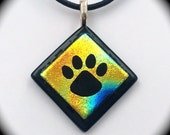 Dichroic Fused Glass Paw Print Pendant - Purchase benefits animal rescue