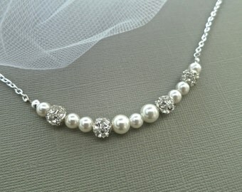 Bridesmaid Pearl Necklace Swarovski Pearl Wedding Necklace Bridesmaid Jewelry Set Bridal Vintage Rhinestone Sterling Silver Gold Fill Sukran