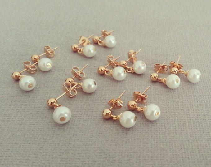 Set of 6 Bridesmaid Pearl Earrings Dangle Pearl Gold Earrings Vintage Style Wedding Jewelry Pearl Stud Earrings Small Pearls Delicate