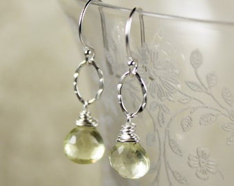 Pale Yellow Lemon Quartz and Hammered Sterling Silver Earrings