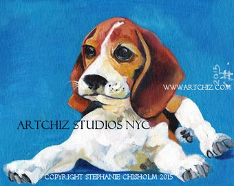 Puppy Art. Beagle Art.Dog Art. Illustration. Blue. Brown. Black. Art Print. Poster. Cute Dog Art. Signed by the Artist - Beagle Baby