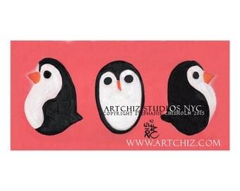3 Penguins. Salmon. Penguin Art. Penguin Illustration. Children. Print. Poster. Kids Art. Signed by the Artist - 3 Sides of a Panda.