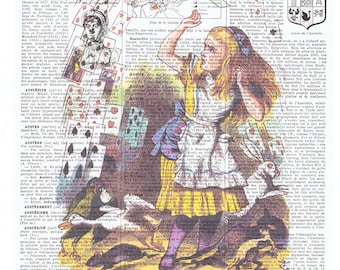Alice in Wonderland.Vintage Book Page Print.playing card.repurpose.buy 3 get 1 free.child deco.birthday gift.fantasy.fairy tale.art