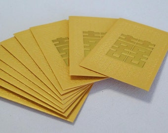 Double Happiness - Embossed Chinese Wedding Cash Envelopes (Yellow Gold Small 10 pcs)