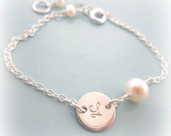 Initial Bracelet. Pearl Bracelet. Bridesmaids Bracelet. Mom Bracelet. Tiny Initial Letter Bracelet