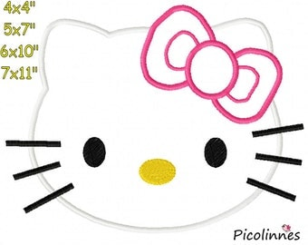 Cat KlTTY Head Machine Embroidery Applique Design Pattern 4x4 5x7 6x10 7x11 INSTANT DOWNLOAD