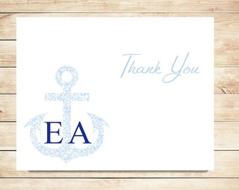 Anchor Thank You Cards - Nautical, Anchor Stationery - Beach Stationary
