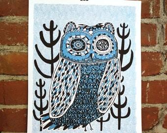 Night Owl- 11x14 - Handprinted Art Print